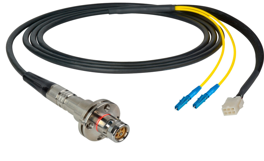 A high quality Image of Camplex LEMO FMW to Duplex LC & 6-Pin Amp In-Line Fiber Breakout 10 Foot