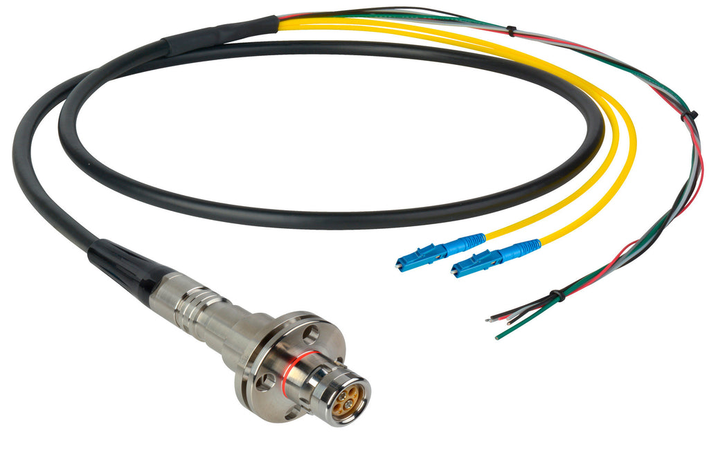 A high quality Image of Camplex LEMO FMW to Duplex LC & Blunt Lead In-Line Fiber Breakout 75 Foot