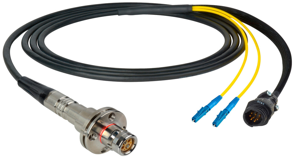 A high quality Image of Camplex LEMO FMW to Duplex LC & 8-Pin RG In-Line Fiber Breakout 25 Foot