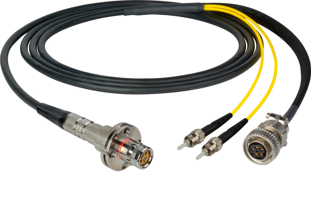 A high quality Image of Camplex LEMO FMW to Dual ST & 5-Pin Amp In-Line Fiber Breakout 15 Foot