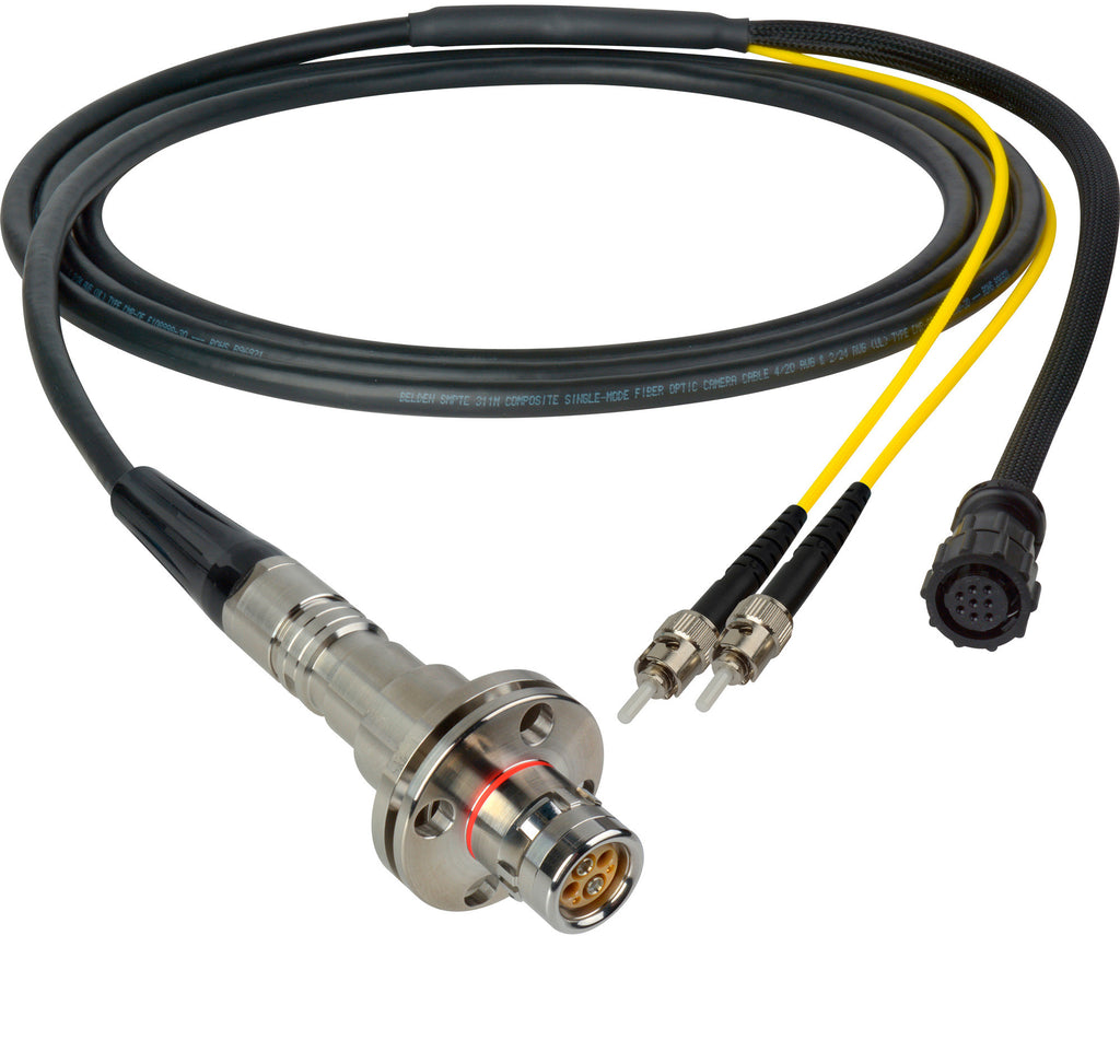 A high quality Image of Camplex LEMO FMW to Dual ST & 8-Pin Amp In-Line Fiber Breakout 75 Foot