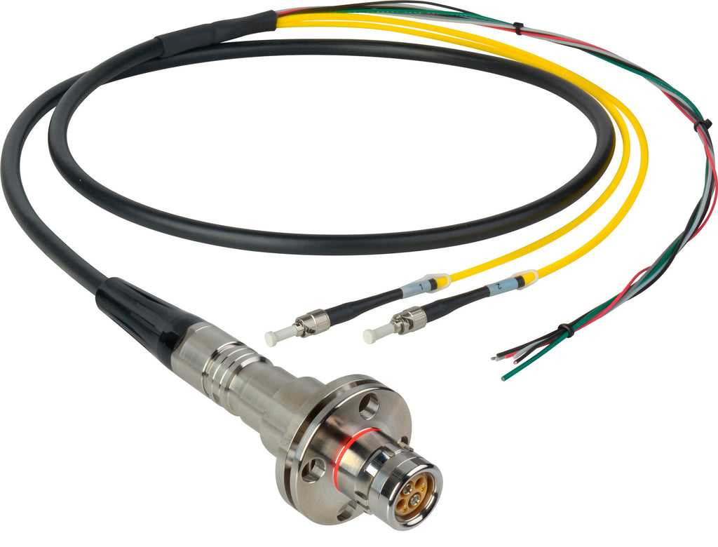 A high quality Image of Camplex LEMO FMW to Dual ST & Blunt Lead In-Line Fiber Breakout 75 Foot