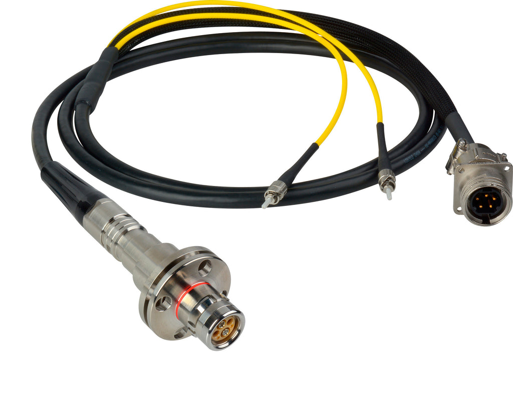A high quality Image of Camplex LEMO FMW to Dual ST & 5-Pin RG In-Line Fiber Breakout 50 Foot