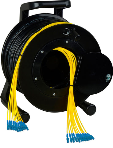 Camplex 12-Channel LC Single Mode Fiber Optic Tactical Snake on Reel 1500Ft