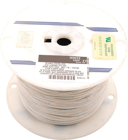 NTE Electronics 18 AWG 300V Stranded Hook-Up Wire 100FT White