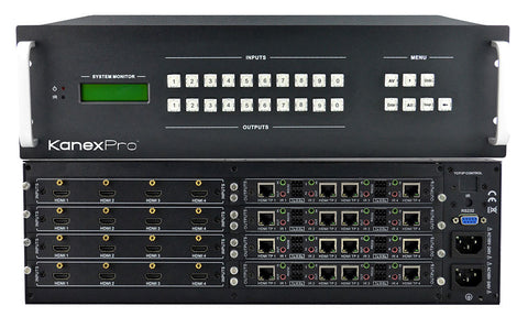 KanexPro HDBASE16X16 16x16 HDBaseT Matrix Switcher with Audio De-embedder & PoE