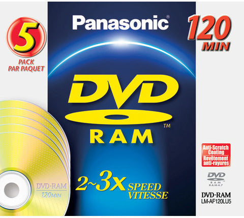 Panasonic 4.7GB Rewritable DVD-RAM Disc with o Cartridge with Jewel Cases 5 Pack