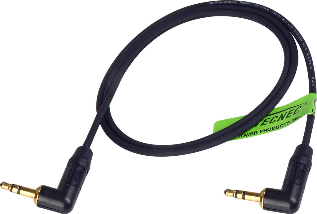 TecNec Lo-Pro Low Profile Star Quad 3.5mm Stereo Male to Right Angle Male Patch Cable 1.5FT