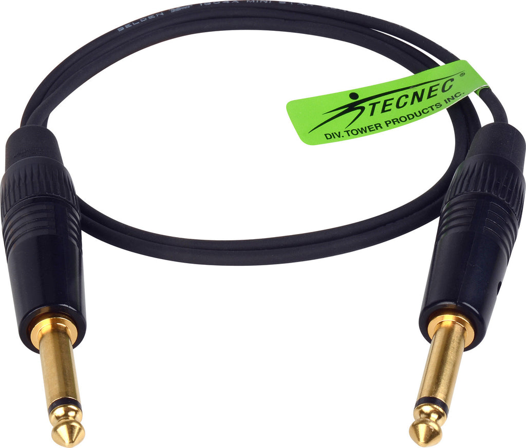 TecNec Lo-Pro Low Profile Star Quad 1/4in Mono Male to Male Patch Cable 3FT