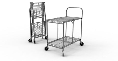 Luxor WSCC-2 Two-Shelf Collapsible Wire Utility Cart