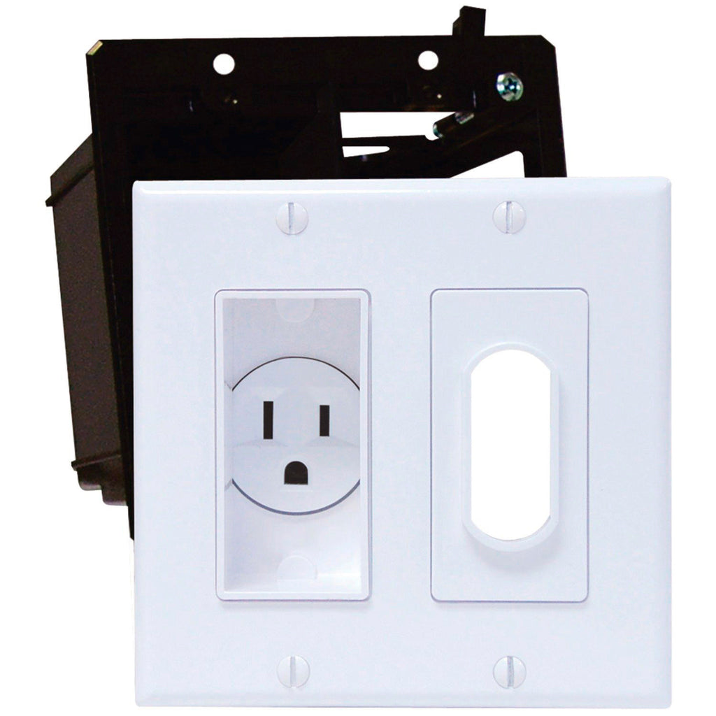 Midlite Double-Gang Decor Recessed Receptacle HDTV Plate Kit Ivory