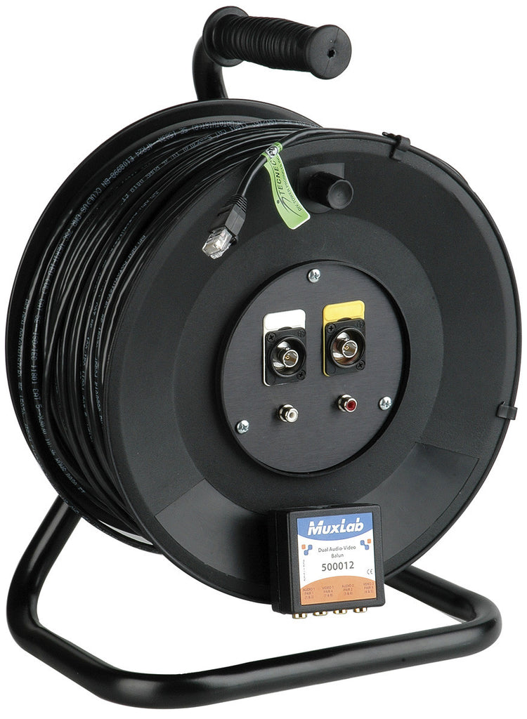 Cable Reel Dual AV Systems over CAT5 with 100FT of Belden 1583 Datatwist Cable