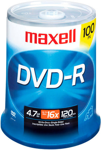 A high quality Image of Maxell 16x Write-Once DVD-R Spindle - 100 Disc Spindle