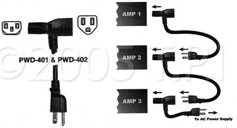 2 Foot Daisy-Chain Multihead Piggyback IEC Power Cable