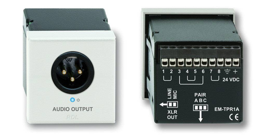 Power Supply Included RDL D-TPR1A Active Single Pair Receiver