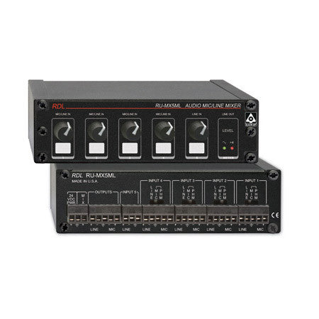 RDL RU-MX5ML 5-Channel Mic/Line Audio Mixer with Phantom Power