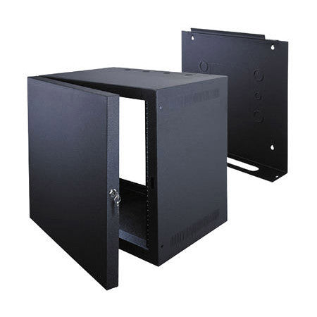 10 Space Deep Wall Rack with Door- Black