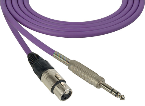 Canare Star-Quad Cable XLR Female to 1/4-Inch TRS Male 1.5 Foot - Purple
