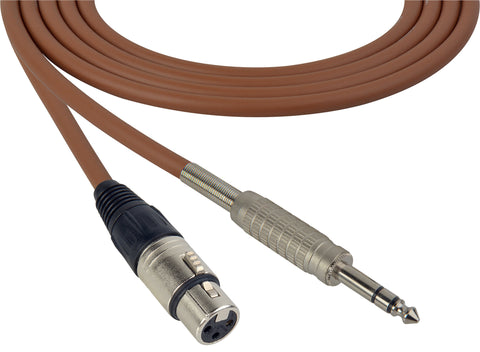 Canare Star-Quad Cable XLR Female to 1/4-Inch TRS male 10 Foot - Brown
