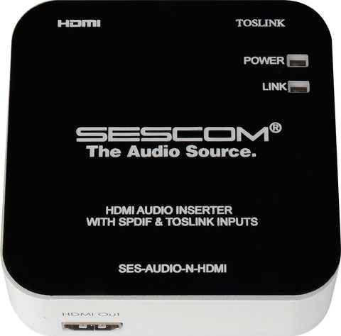Sescom SES-AUDIO-N-HDMI L/R RCA Analog Audio & Toslink to HDMI Audio Inserter