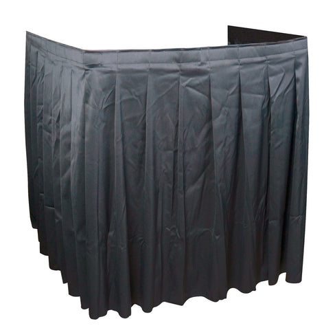 Black AV Cart Skirting 110W x 38H 4-Sided Shirred