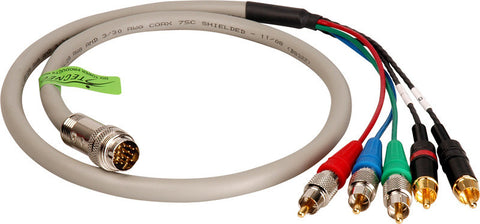 2 RCA Audio and 3 RCA Component Video Twist Lead for Twist and Pull Breakaway Cable 15FT