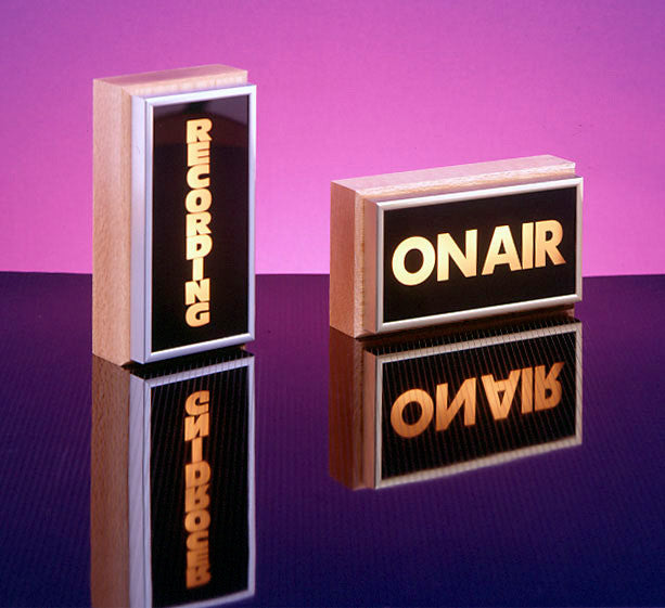 Vertical Studio Warning Light - On-Air in Gold Lettering