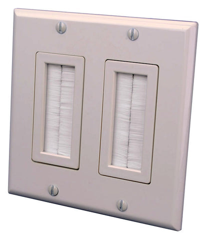Vanco 120825X 2-Gang Decor Style Brush Bulk Cable Wall Plate Light Almond
