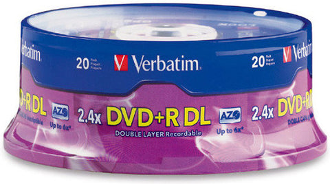 Verbatim 95310 DVD+R DL Dual Layer 8.5 Gig 2.4x Recordable DVD Discs 20 Spindle