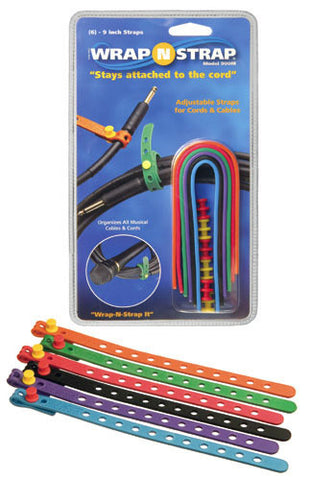 Wrap N Strap 900M 9inch Adjustable Cord and Cable Straps/Fasteners - 6 pack (Mixed Colors)