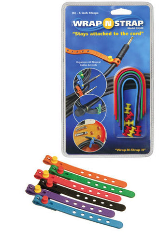 Wrap N Strap 906M 6inch Adjustable Cord and Cable Straps/Fasteners - 6 pack (Mixed Colors)