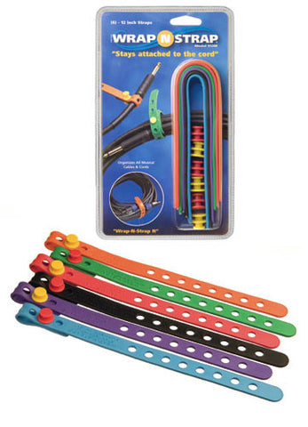 Wrap N Strap 912M 12inch Adjustable Cord and Cable Straps/Fasteners - 6 pack (Mixed Colors)