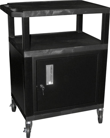 A high quality Image of H. Wilson WT34C2E Utility AV Cart 34 Inch High with Black Cabinet