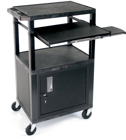 A high quality Image of H. Wilson WTPS42C2E Utility AV Cart with Vented Side Panels