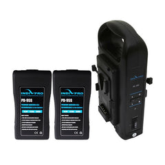 A high quality Image of 2x Compact 95Wh Li-Ion V-Mount Batteries and Dual V-Mount Battery Charger Kit