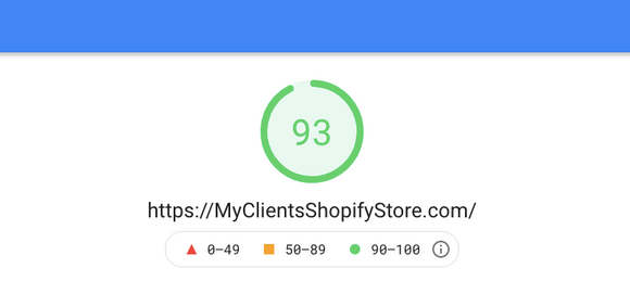 Google PageSpeed Insights scores on a Shopify store optimized to preload the hero image