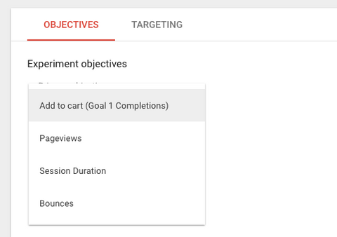 google optimize goal objectives conversion