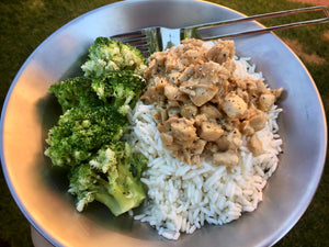 Satay Chicken with Broccoli & Rice