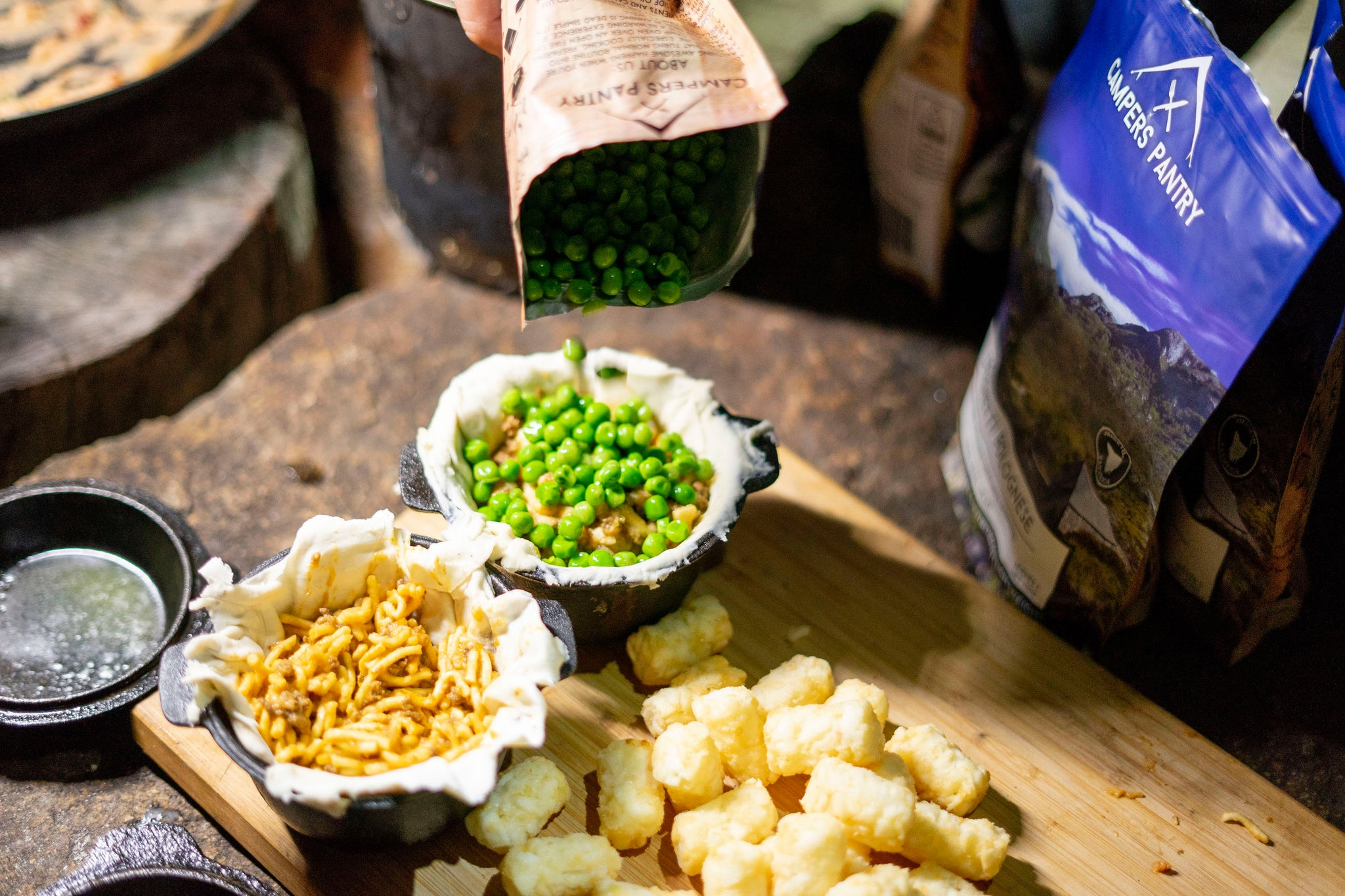 next step is adding Campers Pantry peas on the spag bol. make sure the peas are rehydrated first.