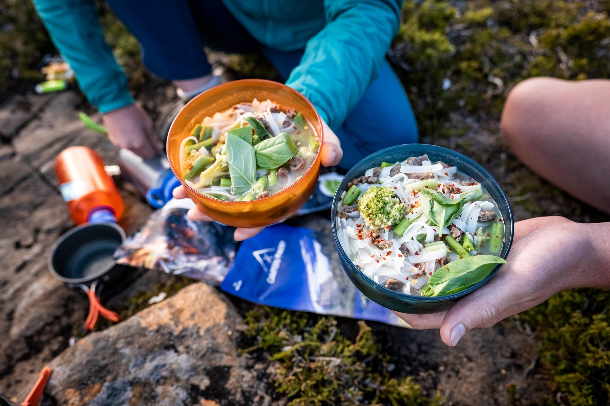 lightweight beef pho using Campers Pantry hiking food ingredients from the pantry range. Unlike dehydrated meals this is way lighter so you wont know you are carrying it. Meal plan this on your next Overland Track trip in Tasmania.