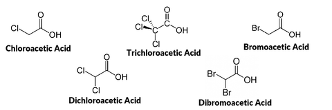 Chemical structure of haloacetic acid disinfection byproducts