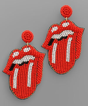 Rolling Stones Statement Lip Earrings - Red