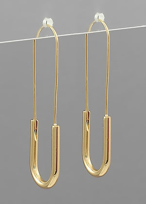 "2"" Safety Pin Hoop Earrings - Gold"