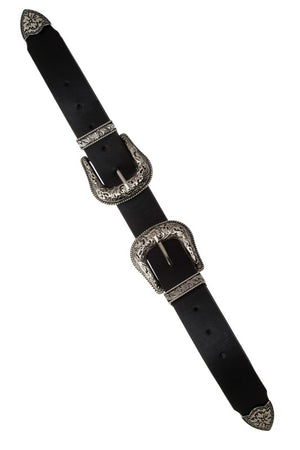"""The McGraw"" Silver Double Buckle Belt - 4 Colors"