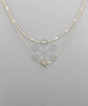 Gold Metal 2-Layer Initial Pendant Necklace