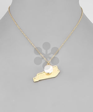Gold Metal KY Pearl State Necklace