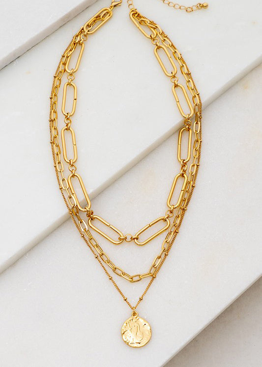 """The Echo"" 3-Layer Chain Link Coin Necklace - Gold"