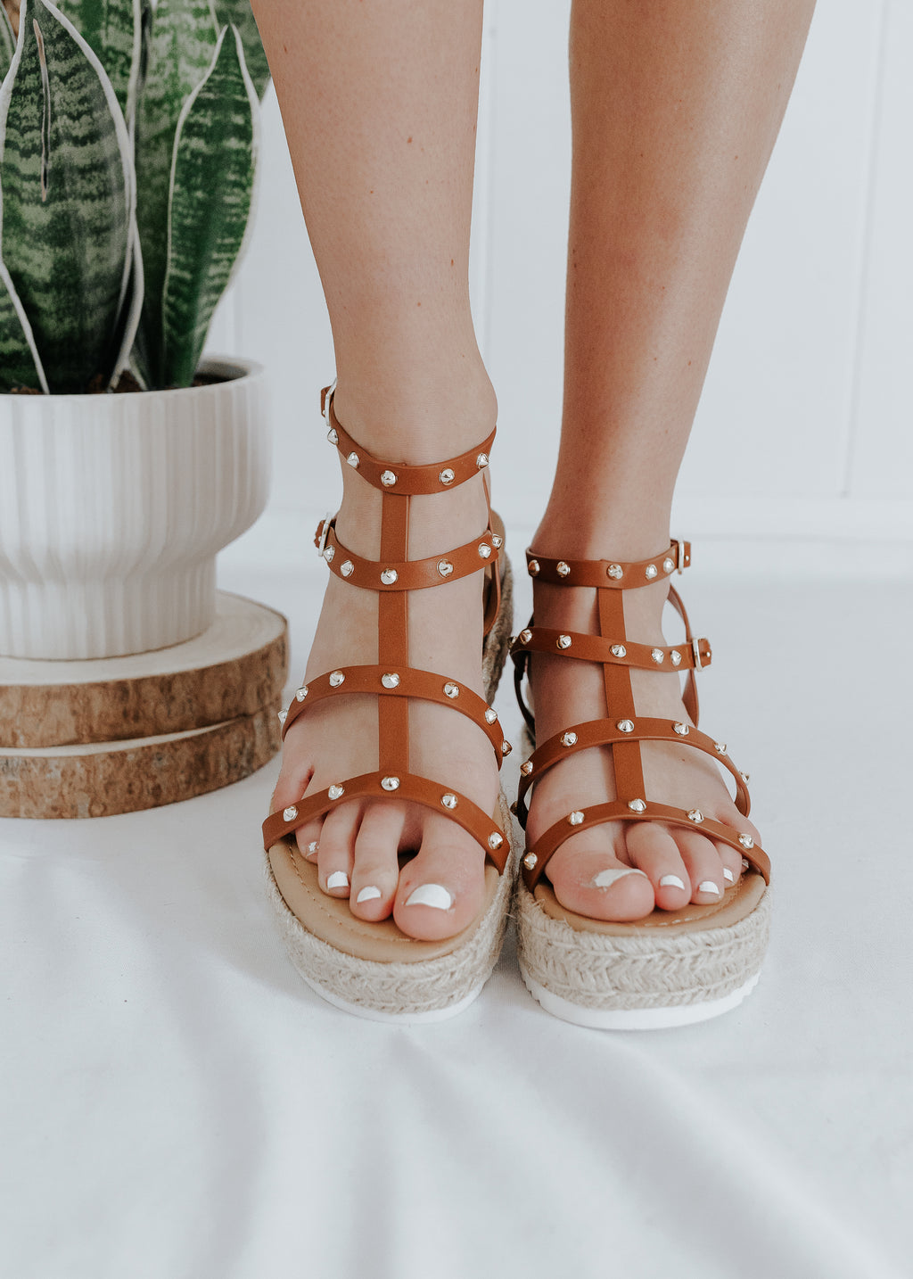 """See You Later, Boy"" Studded Platform Sandals - Tan"