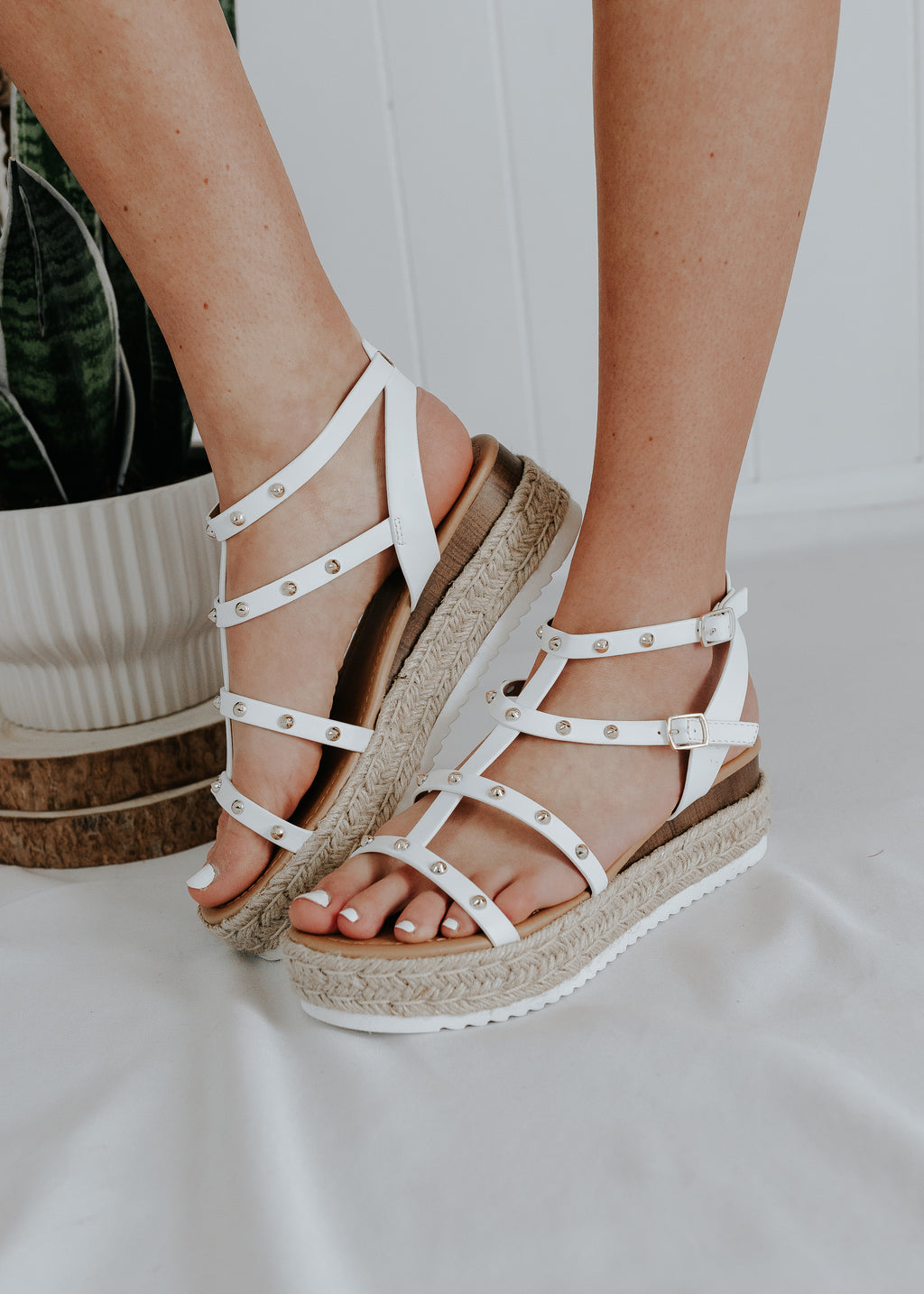 """See You Later, Boy"" Studded Platform Sandals - White"