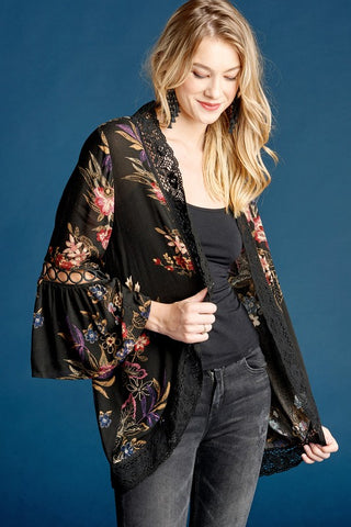 Floral Kimono with Crochet Detail - Black